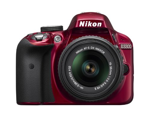 Nikon D3300 24.2 MP CMOS Digital SLR with AF-S DX NIKKOR 18-55mm f/3.5-5.6G VR II Zoom Lens (Red)