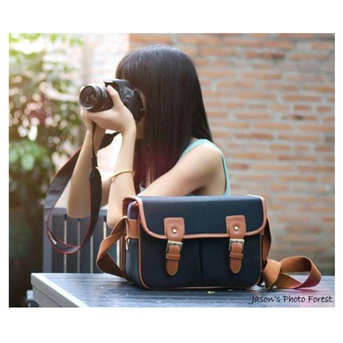 Ghope Black Waterproof Vintage Canvas Camera Bag Messenger Bag for DSLR Camera and Lens Canon 5DII 7D Nikon D90