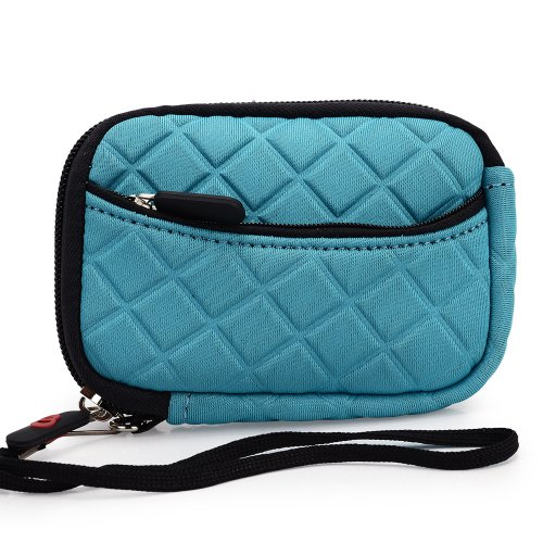 Teal Quilted Neoprene Sleeve Carrying Case with Front Zipper Pocket for Canon PowerShot SX210 IS Digital Point & Shoot Camera + EnvyDeal Velcro Cable Tie