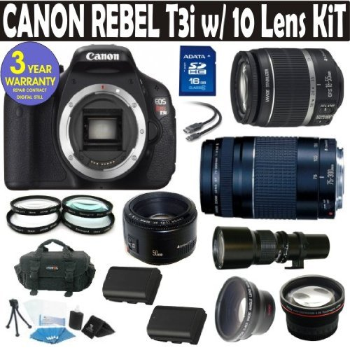 Canon Rebel T3i (EOS 600D/KISS X5) 10 Lens Deluxe Kit with EF-S 18-55mm f/3.5-5.6 IS II Zoom Lens & EF 75-300mm f/4-5.6 III Telephoto Zoom Lens + 500 Telephoto Preset Lens + Canon 50mm 1.8 Lens + 16GB Deluxe Accessory Kit + 3 Year Celltime Warranty