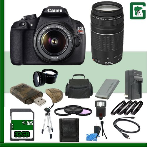 Canon EOS Rebel T5 Digital SLR Camera Kit w/ 18-55mm IS II Lens and Canon EF 75-300mm III Lens + 32GB Greens Camera Package