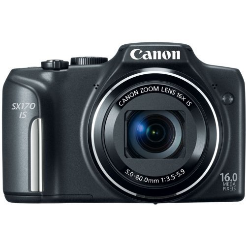 Canon PowerShot SX170 IS 16.0 MP Digital Camera with 16x Optical Zoom and 720p HD Video (Black) Color: Black